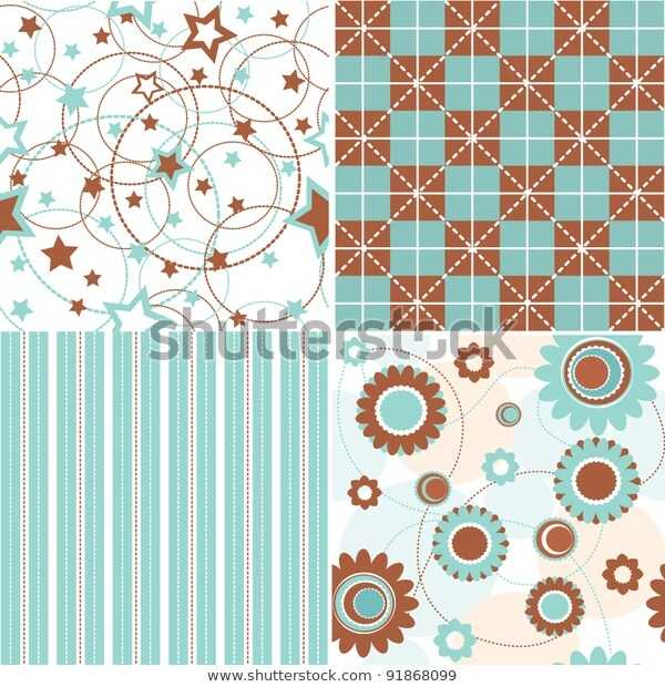 4 Seamless Background Textures Blue Brown Stock Vector