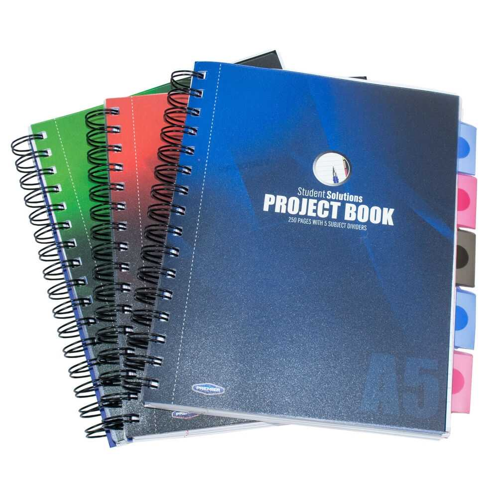 A5 Spiral Project Book Lined 250 Page Paper Tabbed