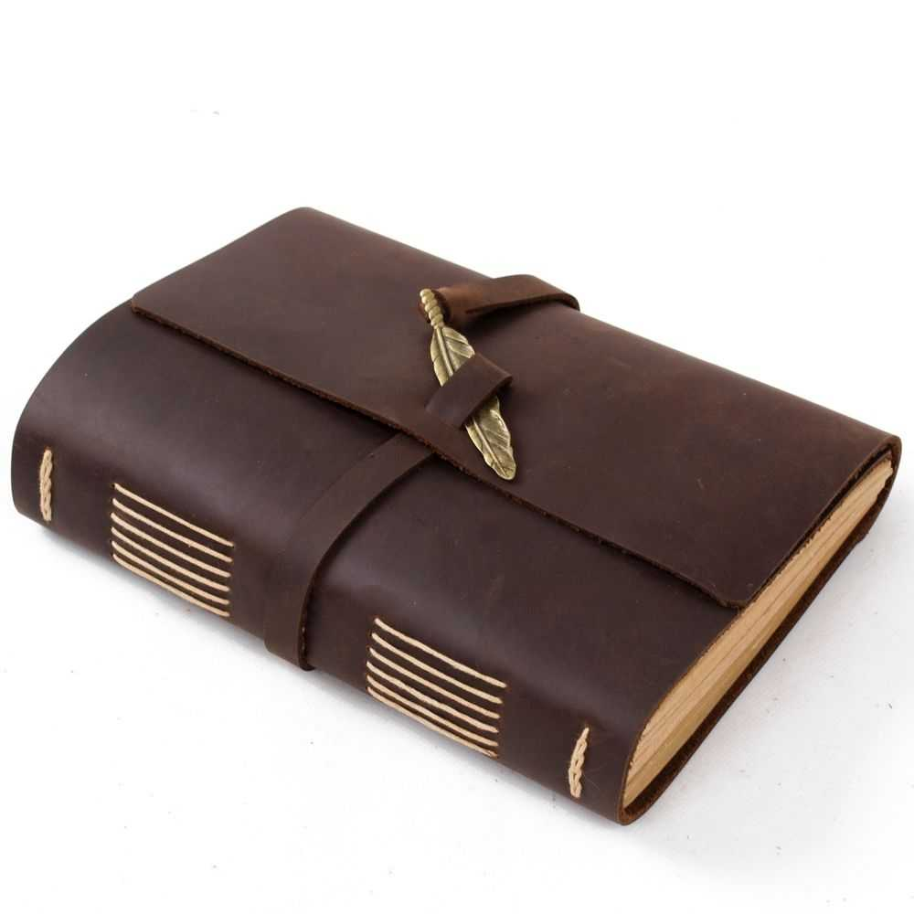Ancicraft Leather Journal Diary Notebook With Feather A5