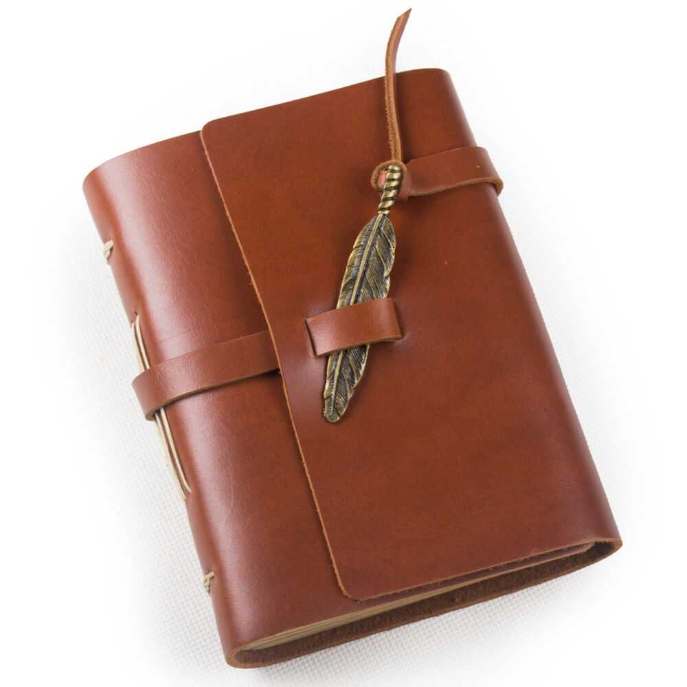 Ancicraft Leather Journal Diary With Feather A6 Lined