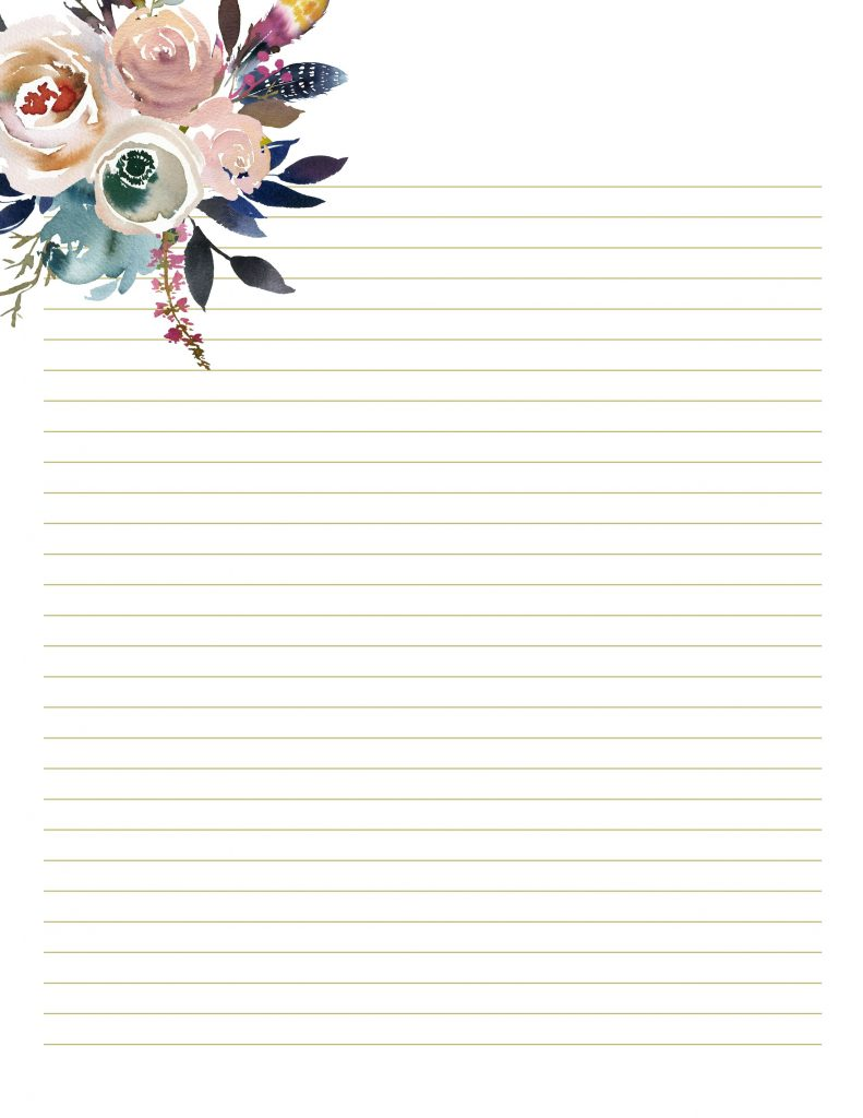 Floral Stationary For Wedding Writing Paper Printables