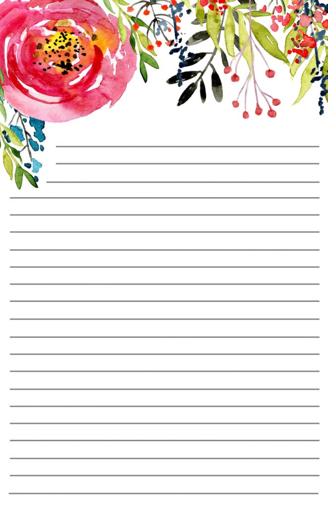 Free Printable Floral Stationery Paper Trail Design