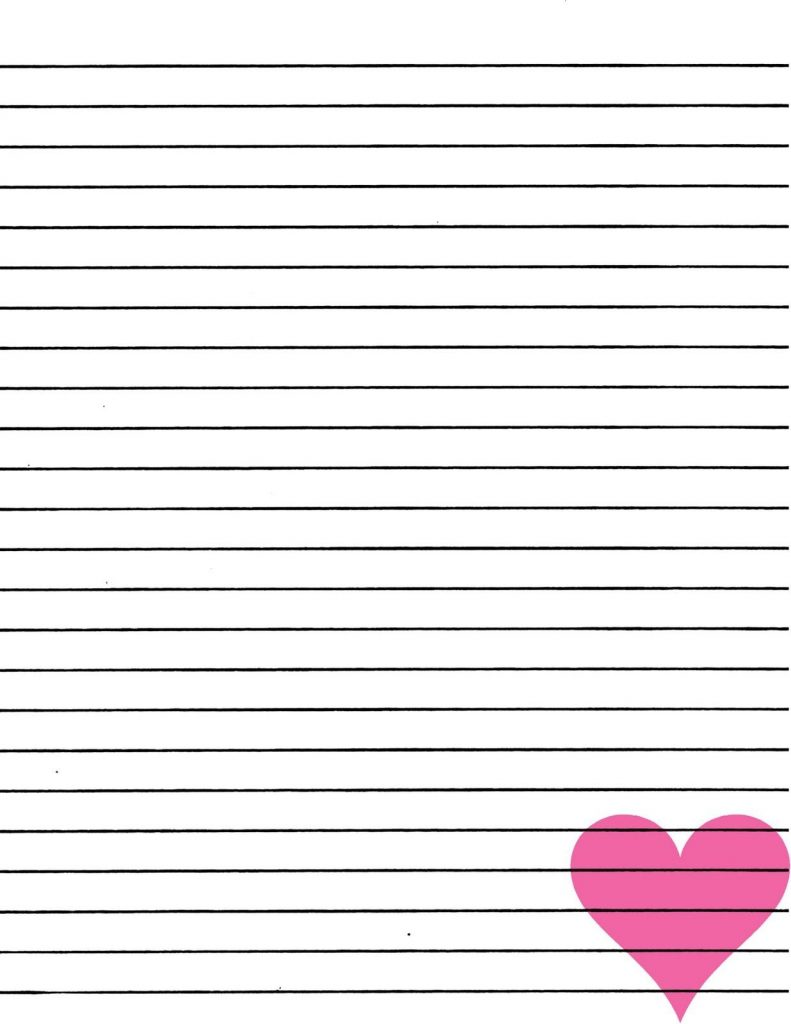 Just Smashing Paper FREEBIE Pink Heart Lined Paper
