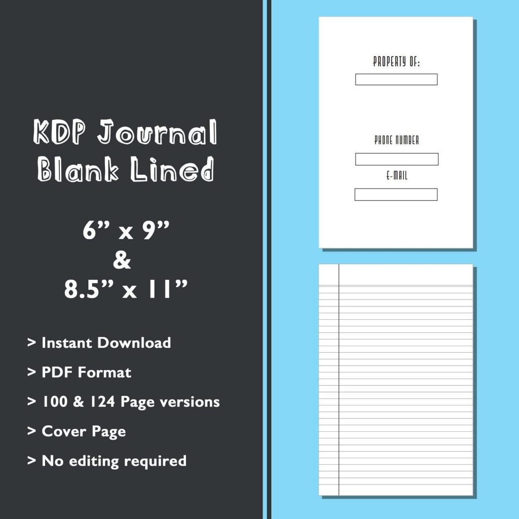 KDP Blank Lined Journal Template Kindle Direct