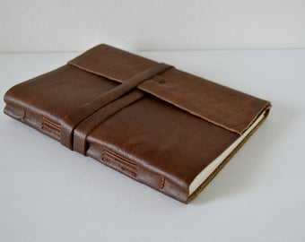 LINED Pages Large Leather Journal Sketchbook Chocolate Brown