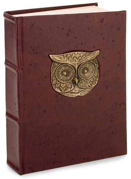 Metal Owl Head Brown Italian Leather Thick Lined Journal