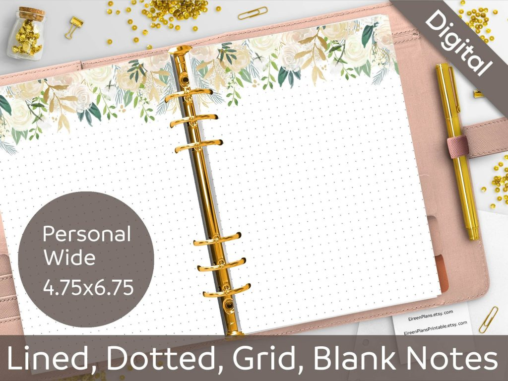 Personal Wide Pastel Roses Notes Printable Inserts Lined
