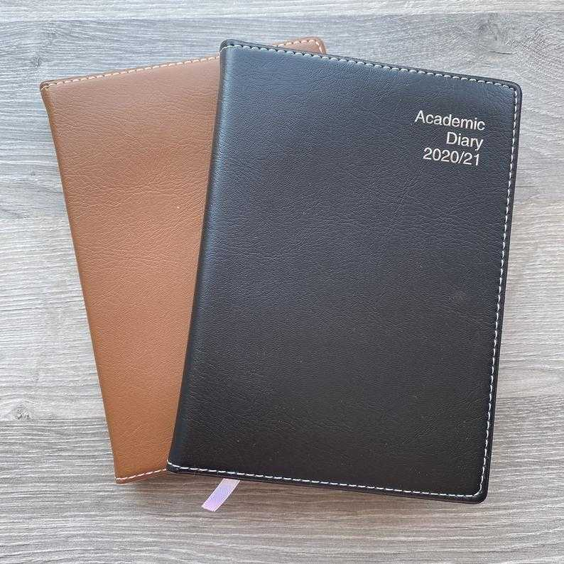 Personalised Grey Faux Leather 2020 2021 Diary Journal