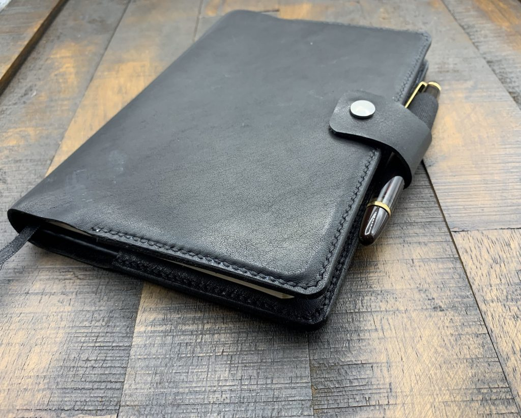 A5 Journal Cover Black Leather Pen Loop