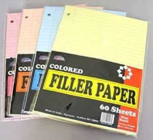 Amazon Loose Colored Filler Paper 60 Sheets Wide