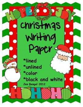 Christmas Writing Paper Lined Unlined Color And Black