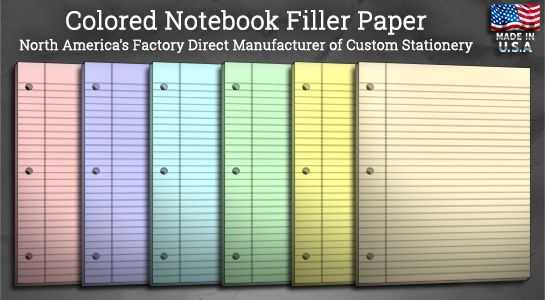 Colored Notebook Filler Paper Custom Stationery