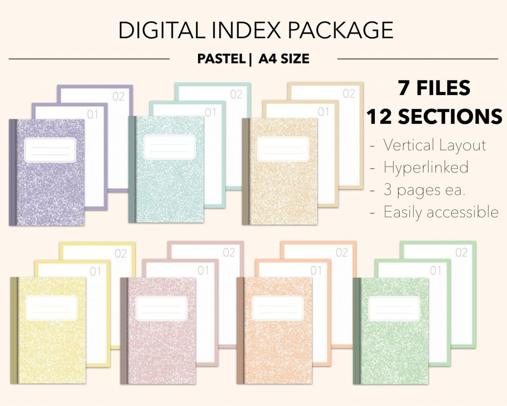 Digital Subject Notebook PACKAGE 12 Section Pastel