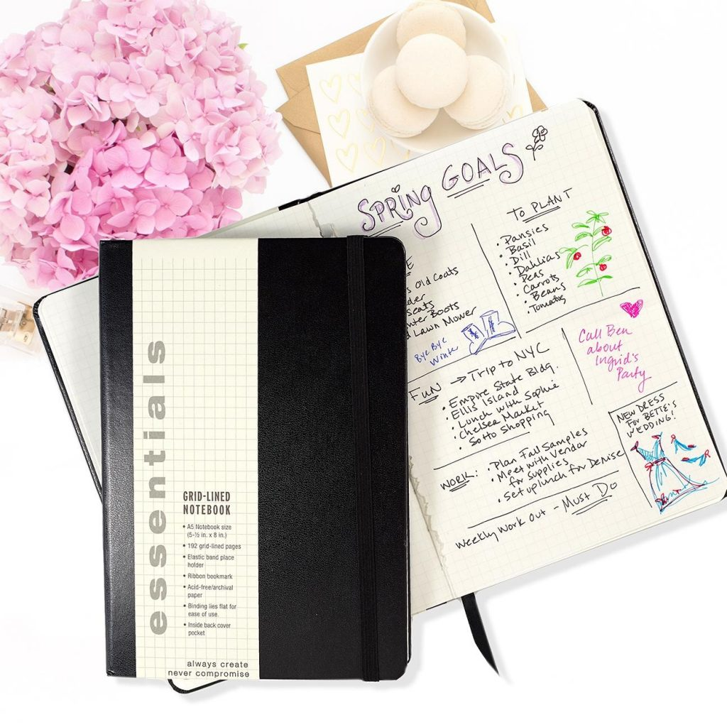 Essentials Grid lined Notebook Large A5 Size Journal