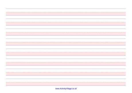 Handwriting Lines Large Landscape Shaded Pink