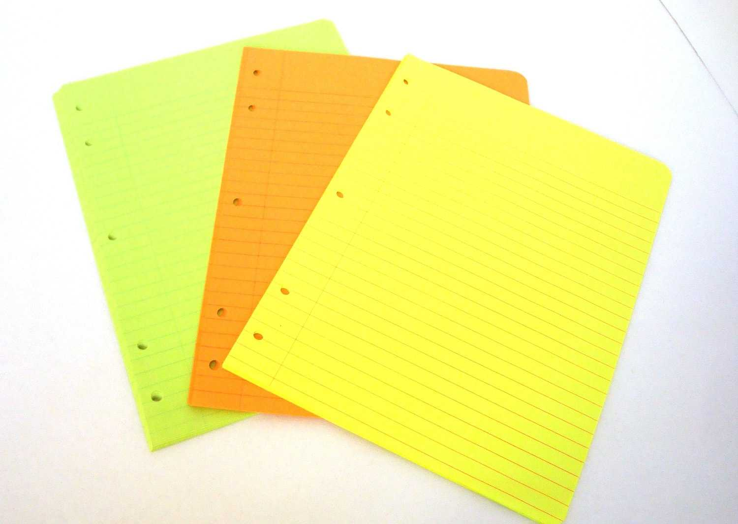 Notebook Paper 1970 s Neon Colored Paper Vintage