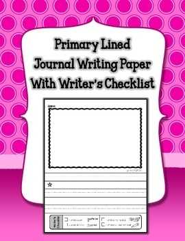 Primary Lined Journal Writing Paper with Writer s