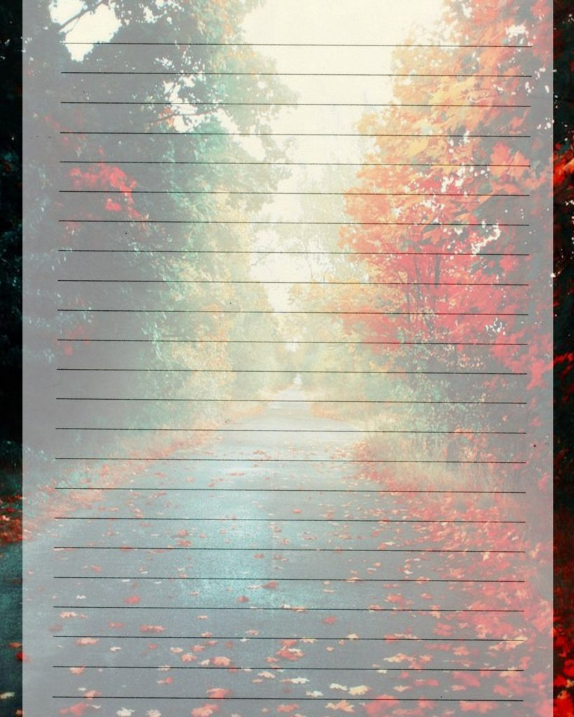 Printable Journal Page Autumn Leaves Lined Digital