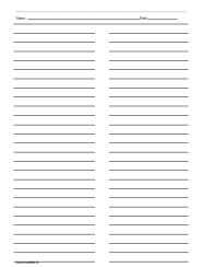 Ruled Paper With Two Columns Printables Lists Ruled