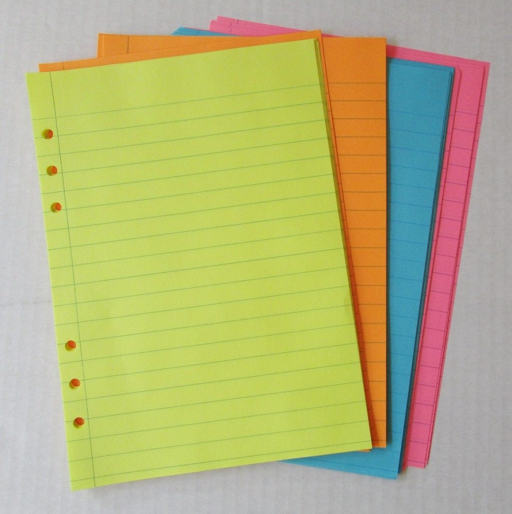 Set Of 40 Colored Lined 20 Lb Paper Inserts For By