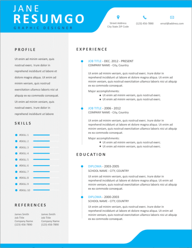 Bright And LivelyResume Template