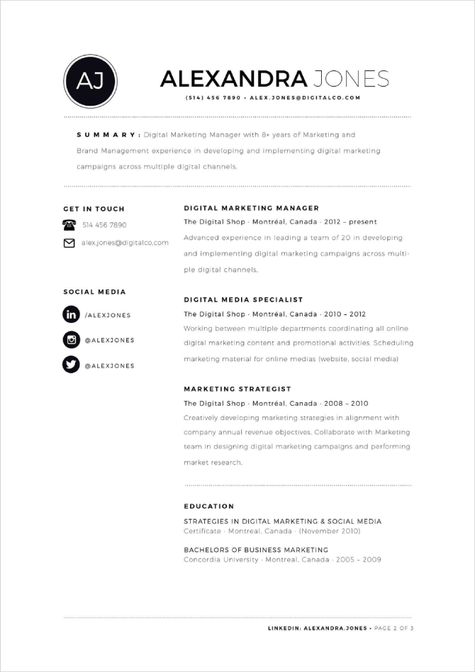 Neat And Well-organized Resume Template