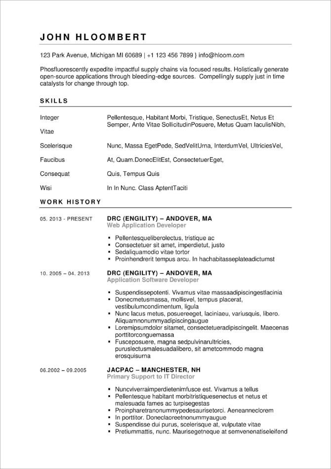 Simple and Serious Resume Template