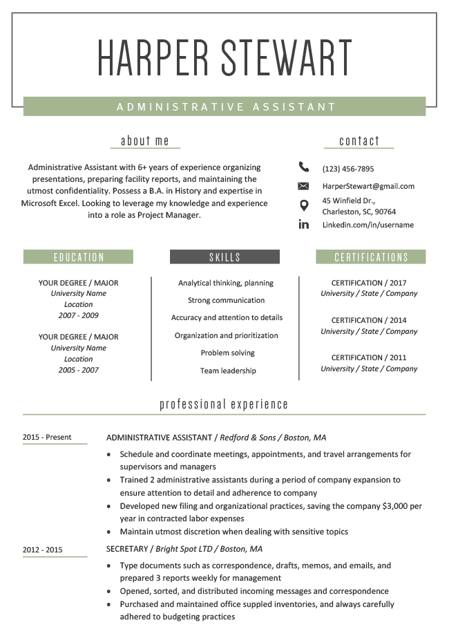 Creatively Green Resume Template - Free Creative Resume Templates For Microsoft Word