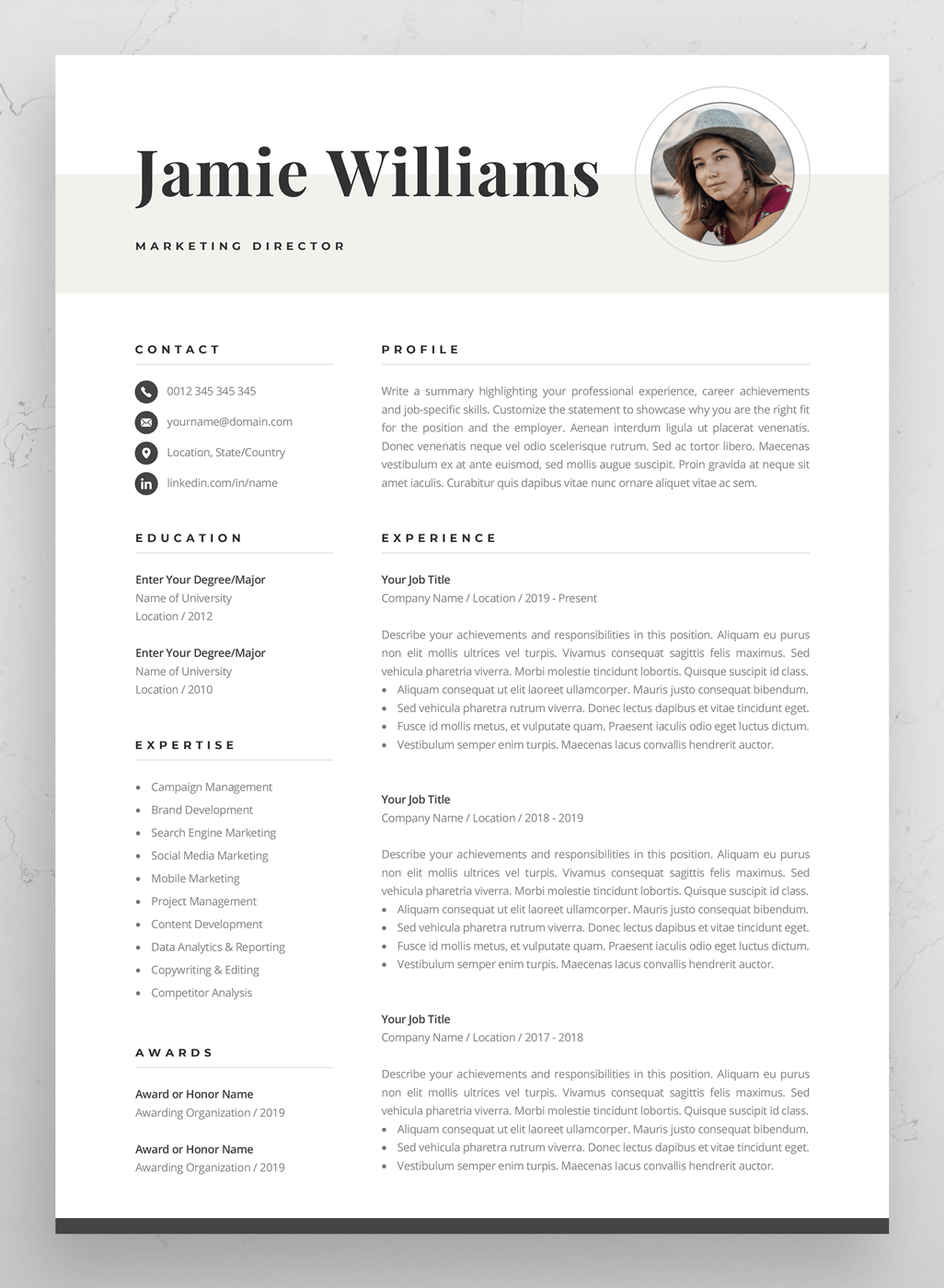 Elegant Dark Microsoft Word One-Page Resume Templates