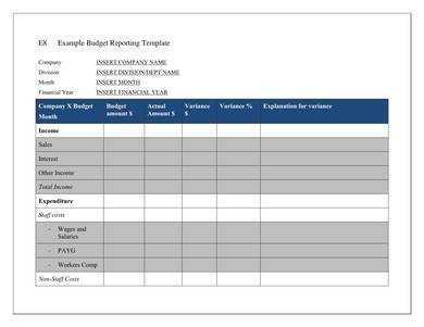 Budget Report Template