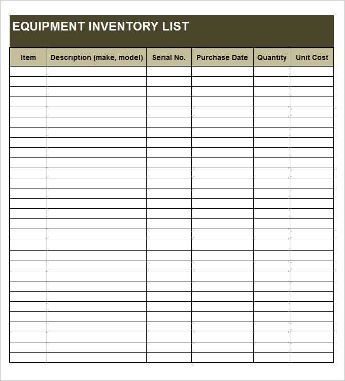 Downloadable Equipment Inventory Template