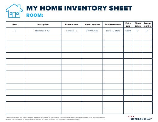 Household Inventory Checklist Excel Format