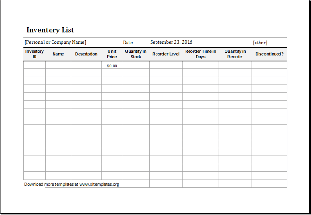 Food Inventory Template Example