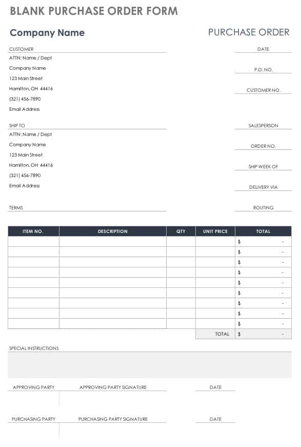 Contract Purchase Order Template