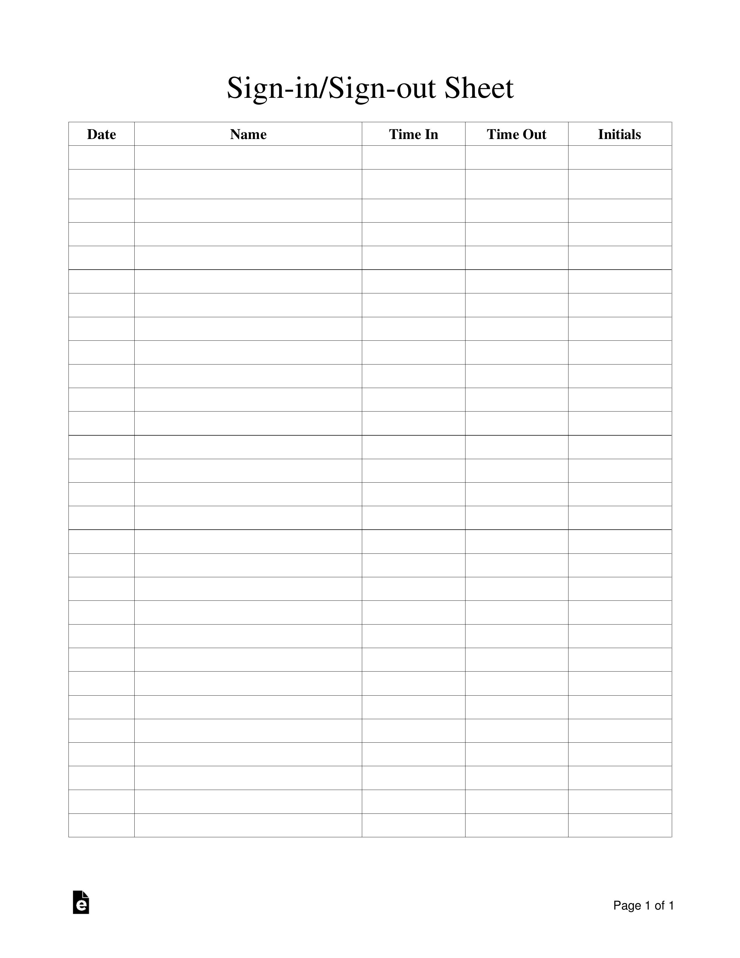 Property Sign Out Form