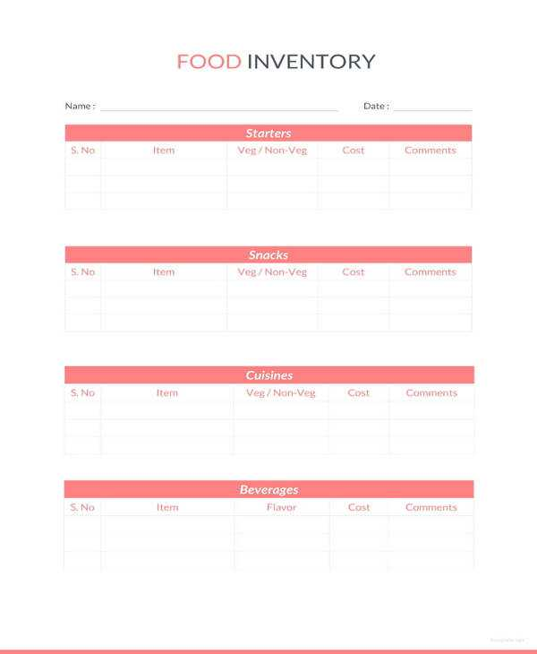 Food Inventory Sheet Template