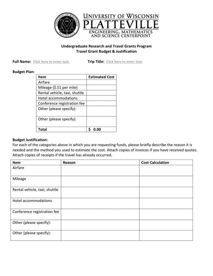 Conference Travel Budget Template