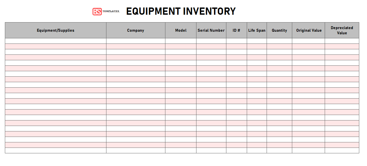 Printable Equipment Inventory Template