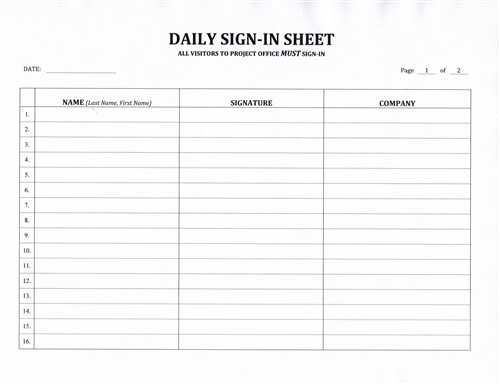 Contractor Sign In Sheet