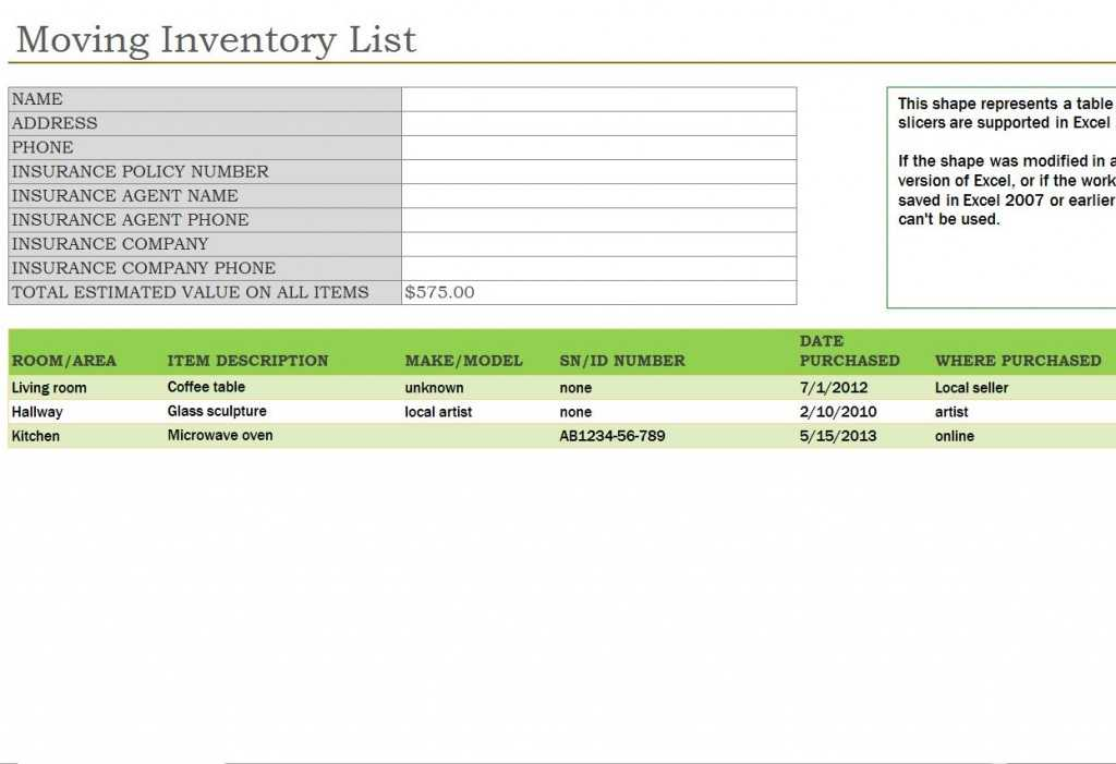 Office Furniture Inventory Template