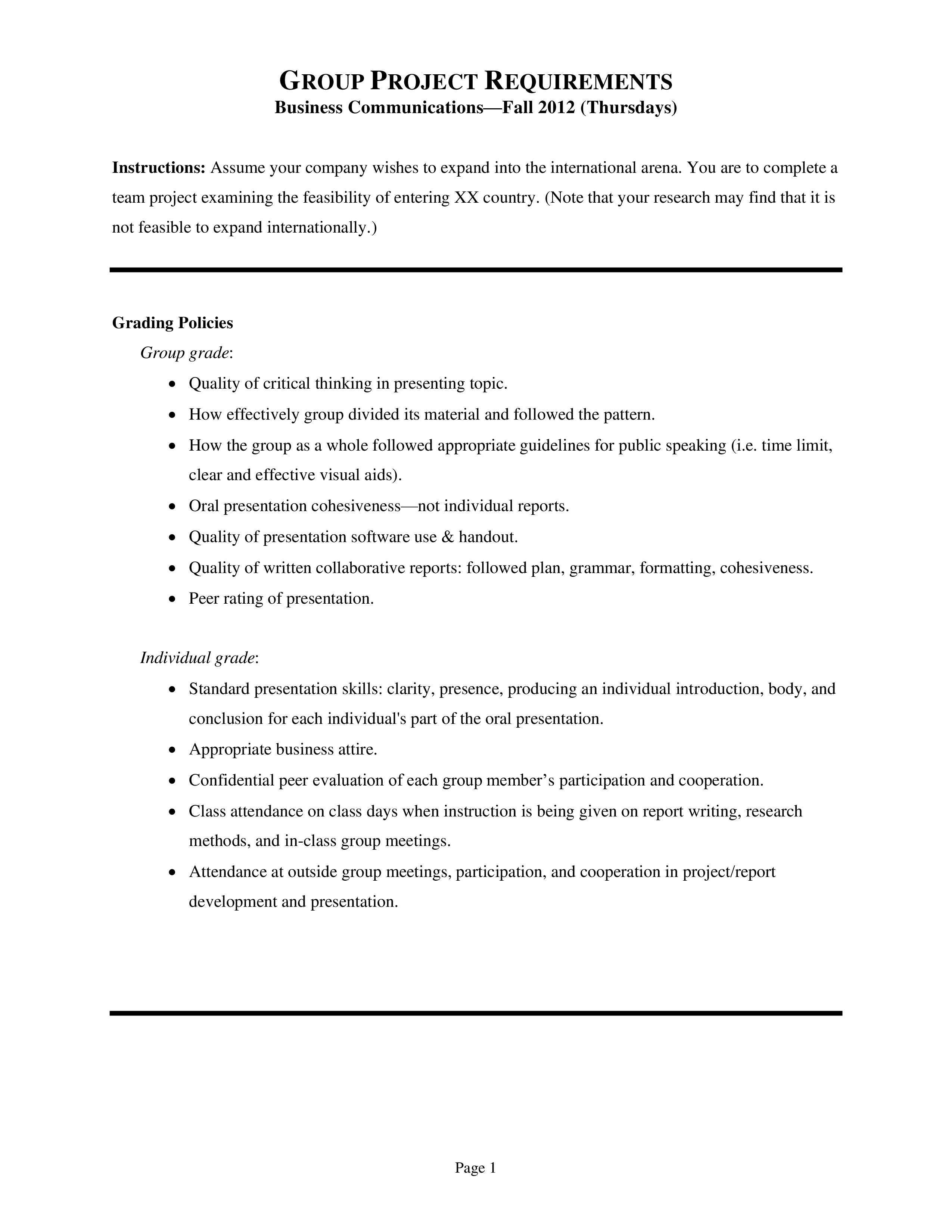 Business Communication Project Report Template