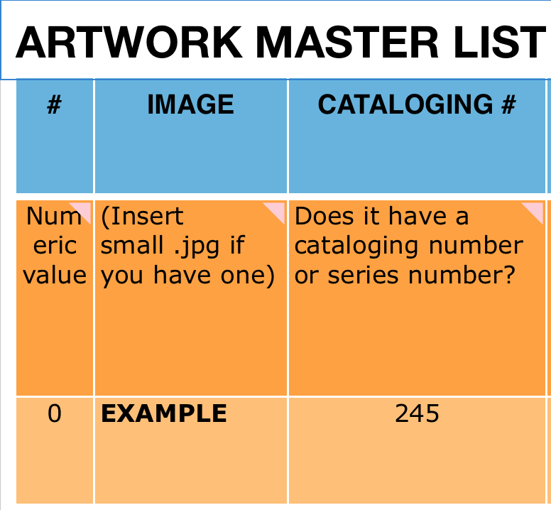 How To Use Excel To Create An Art Inventory