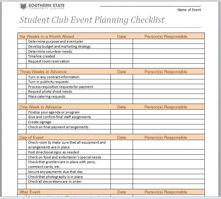 Event Planner Template Word