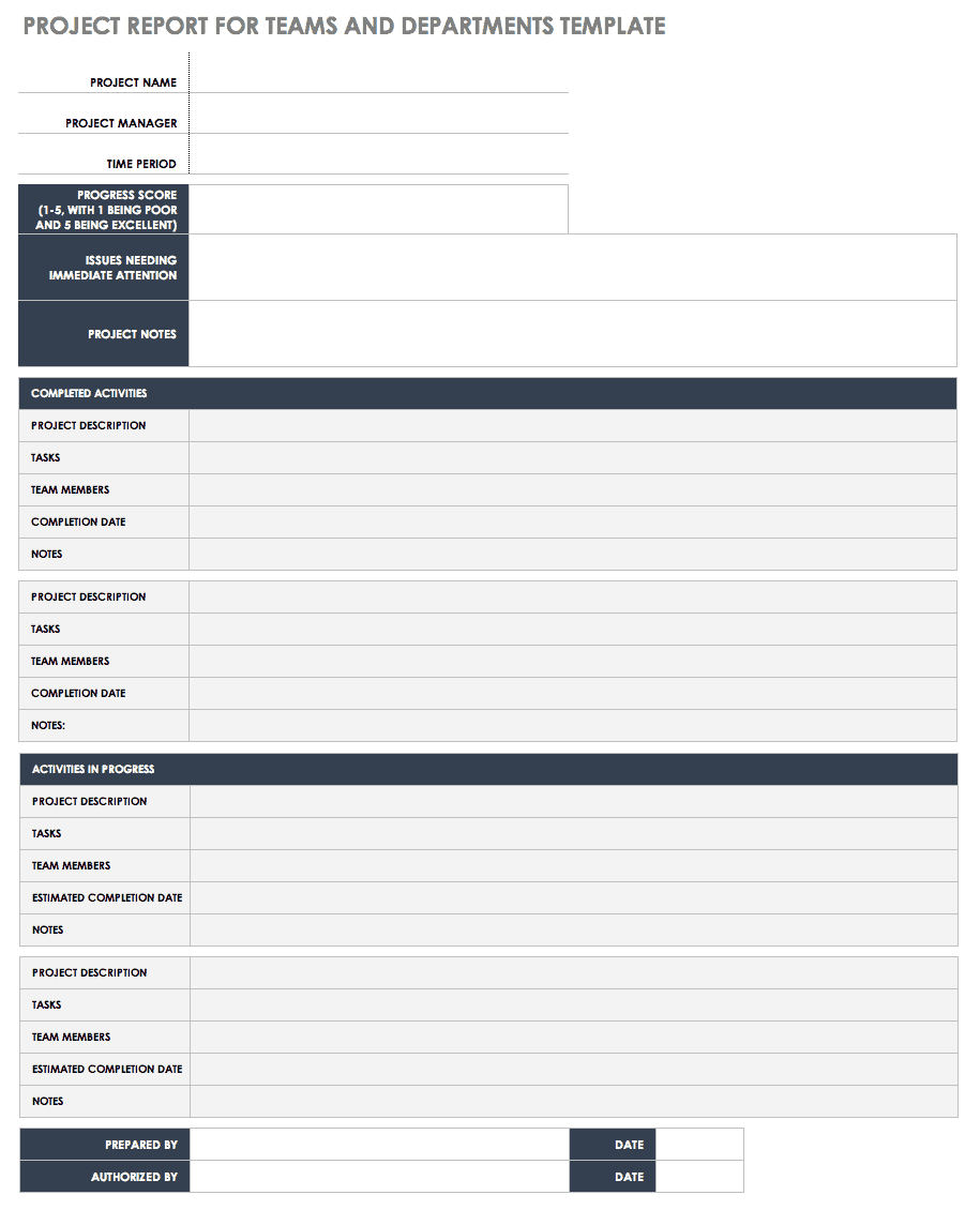 Project Report Template For Teams Or Departments
