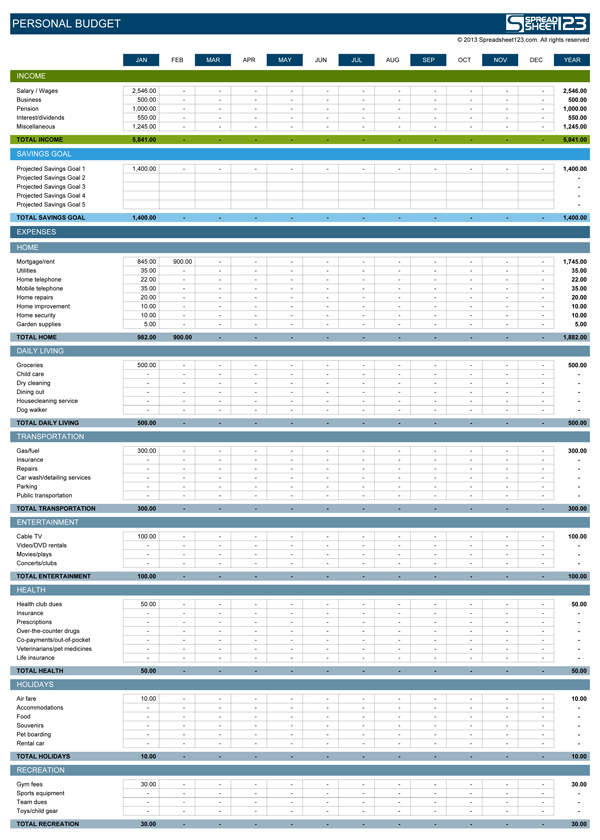 Personal Monthly Budget Worksheet