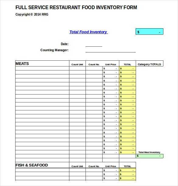 Food Products Inventory Template Sample Example Format