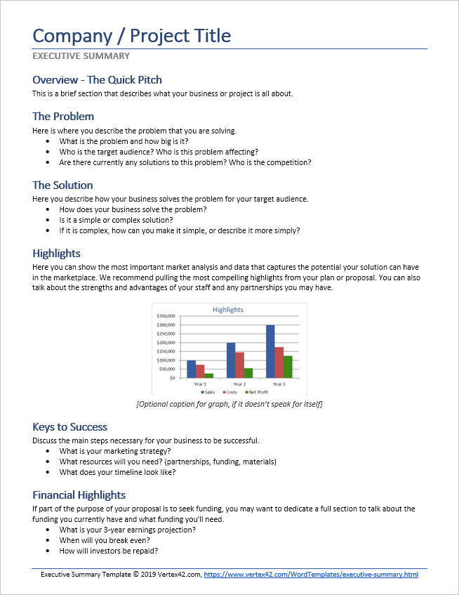 Business Project Report Template For Investors